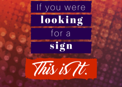If you were looking for a sign, this is it. #WOW